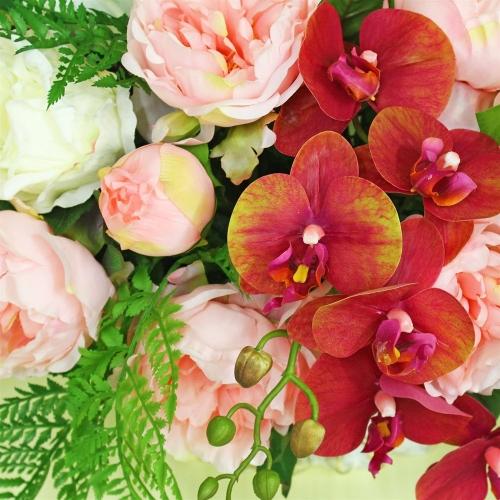 Композиция Пионов, Роз и Орхидеи искусственная микс в греческой вазе 40 см - Фото 3