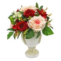 Композиция из Лилии и Роз искусственная в малой вазе 40 см