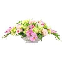 Композиция из Орхидей, Роз, Гортензий искусственная розово-зеленая 35 см