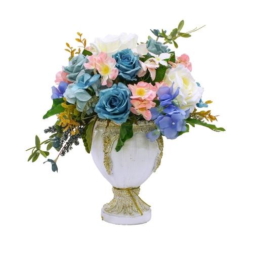 Композиция из Роз и Гортензий искусственная микс в малой вазе 38 см