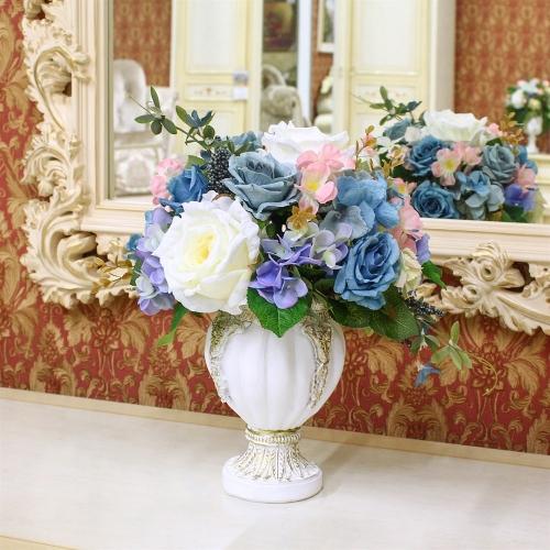 Композиция из Роз и Гортензий искусственная микс в малой вазе 38 см - Фото 2