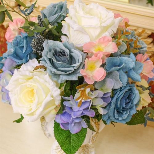 Композиция из Роз и Гортензий искусственная микс в малой вазе 38 см - Фото 3