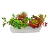 Композиция Суккулентов искусственная в керамическом кашпо зелено-красная 17 см