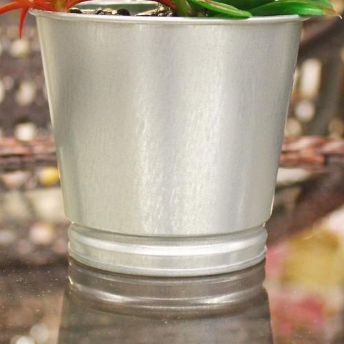 Композиция из Суккулентов Каменная Роза искусственная в металлическом ведерке 20 см - Фото 4