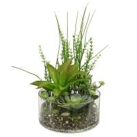 Композиция из Суккулентов искусственная зеленая в вазе гранд 34 см