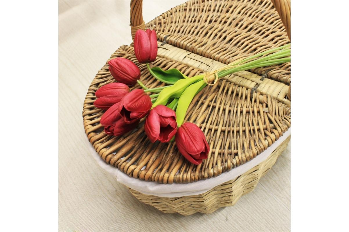 Букет Тюльпанов искусственный пурпурный 27 см (Real Touch) - Фото 2