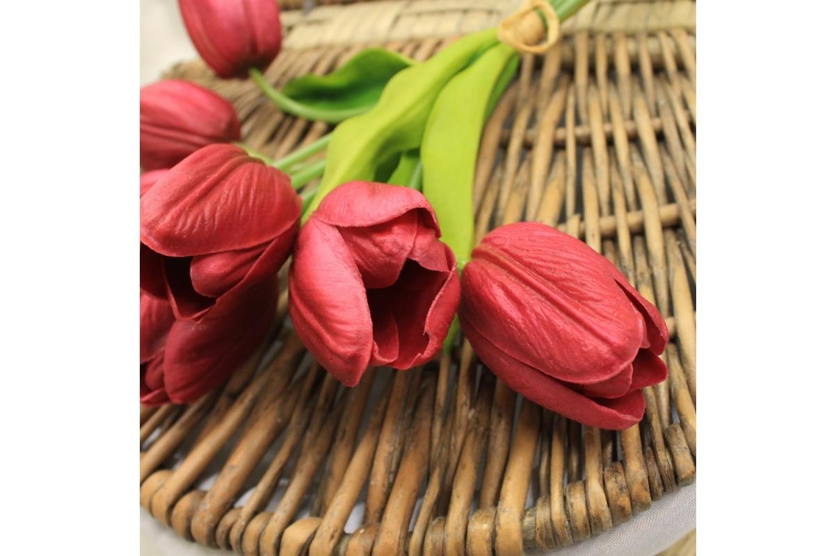 Букет Тюльпанов искусственный пурпурный 27 см (Real Touch) - Фото 3