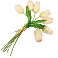 Букет Тюльпанов искусственный бело-розовый 27 см (Real Touch)