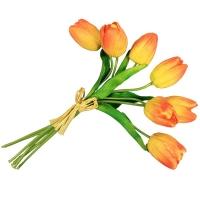 Букет Тюльпанов искусственный желто-оранжевый 27 см (Real Touch)