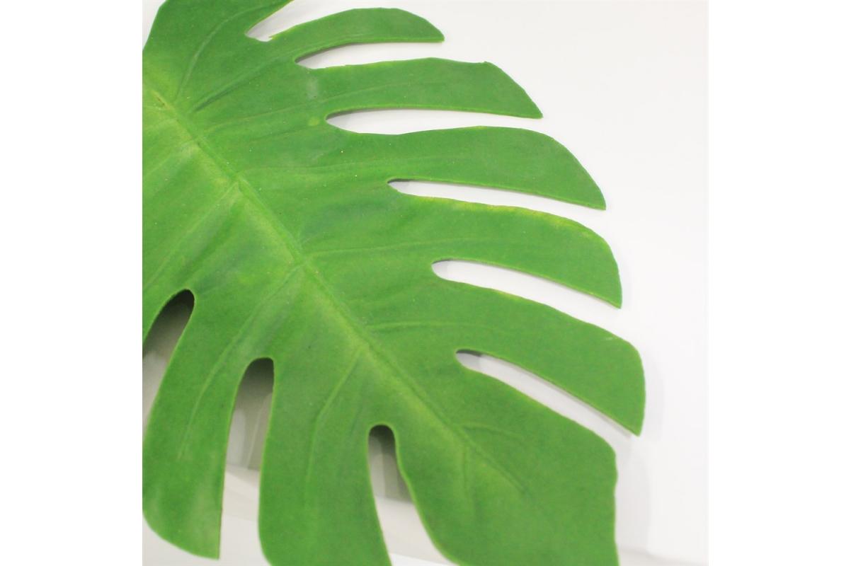 Лист Монстеры искусственный зеленый 73 см (real touch) - Фото 3