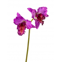 Орхидея Каттлея крупная искусственная темно-сиреневая 42 см MDP (real touch)