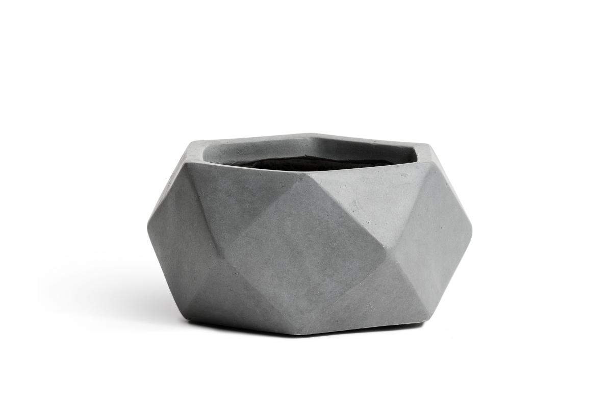 Кашпо TREEZ ERGO Rombo низкая чаша многогранник светло-серый камень от 15 до 28 см - Фото 3