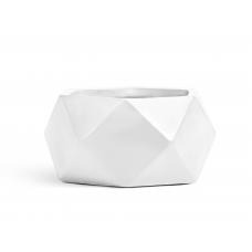 Кашпо TREEZ ERGO Rombo низкая чаша-многогранник белый камень от 30 до 58 см