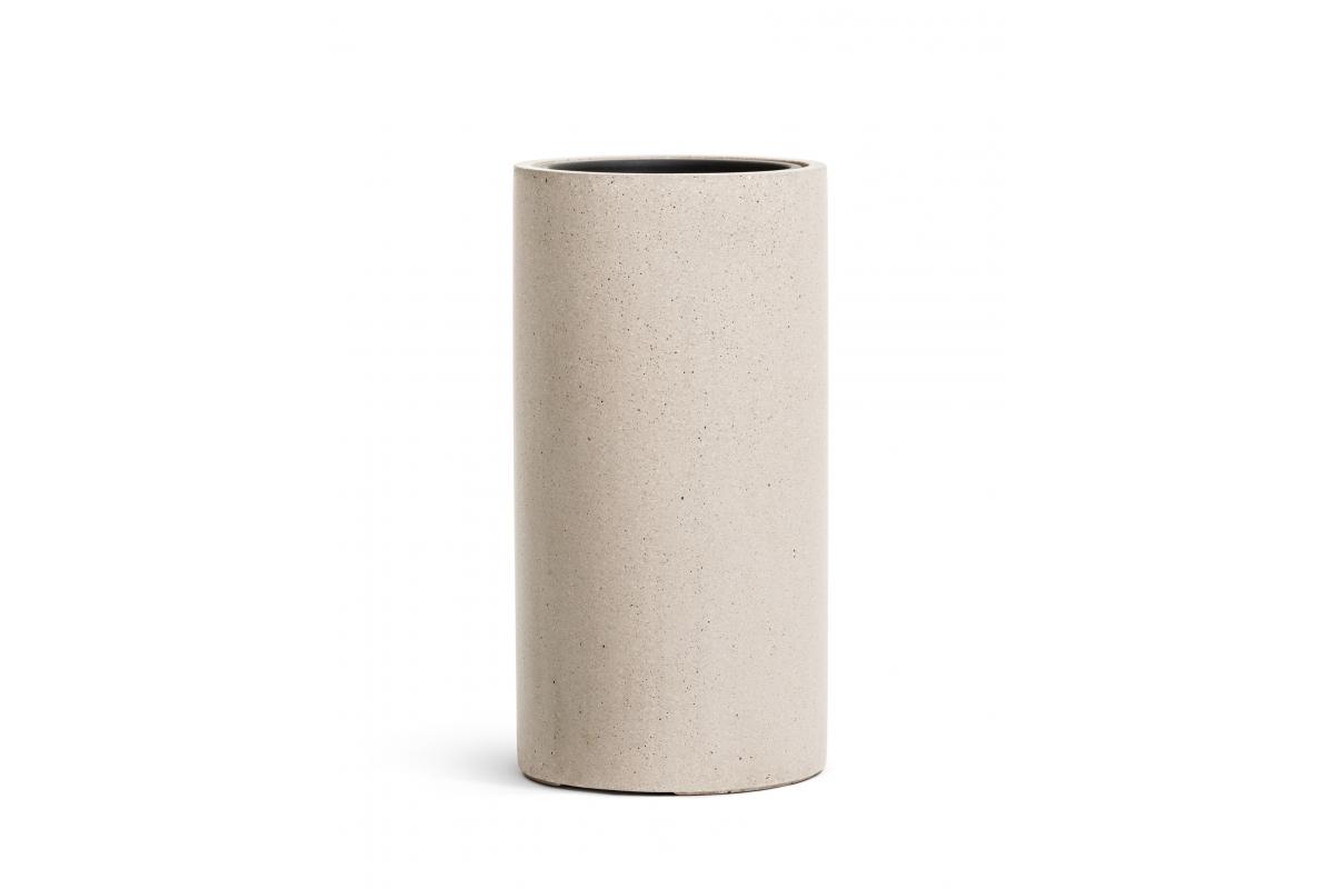 Кашпо TREEZ Effectory Beton высокий цилиндр белый песок от 60 до 80 см - Фото 2