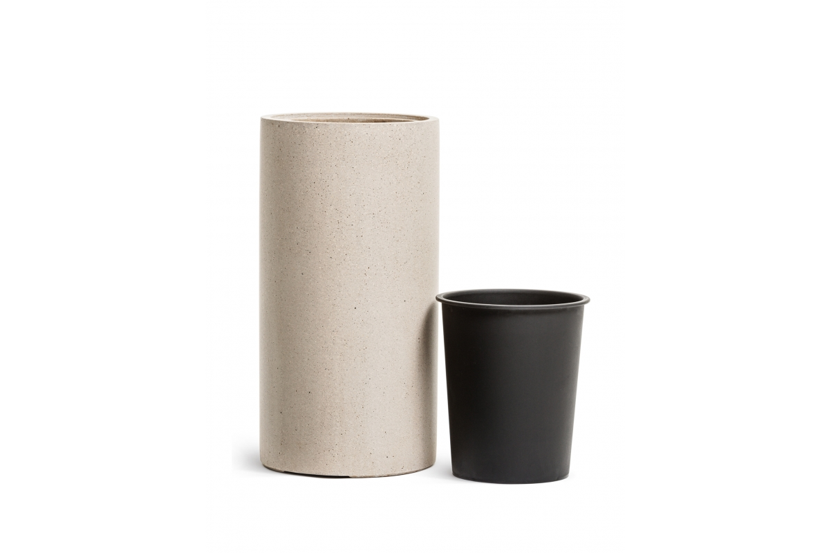 Кашпо TREEZ Effectory Beton высокий цилиндр белый песок от 60 до 80 см - Фото 3