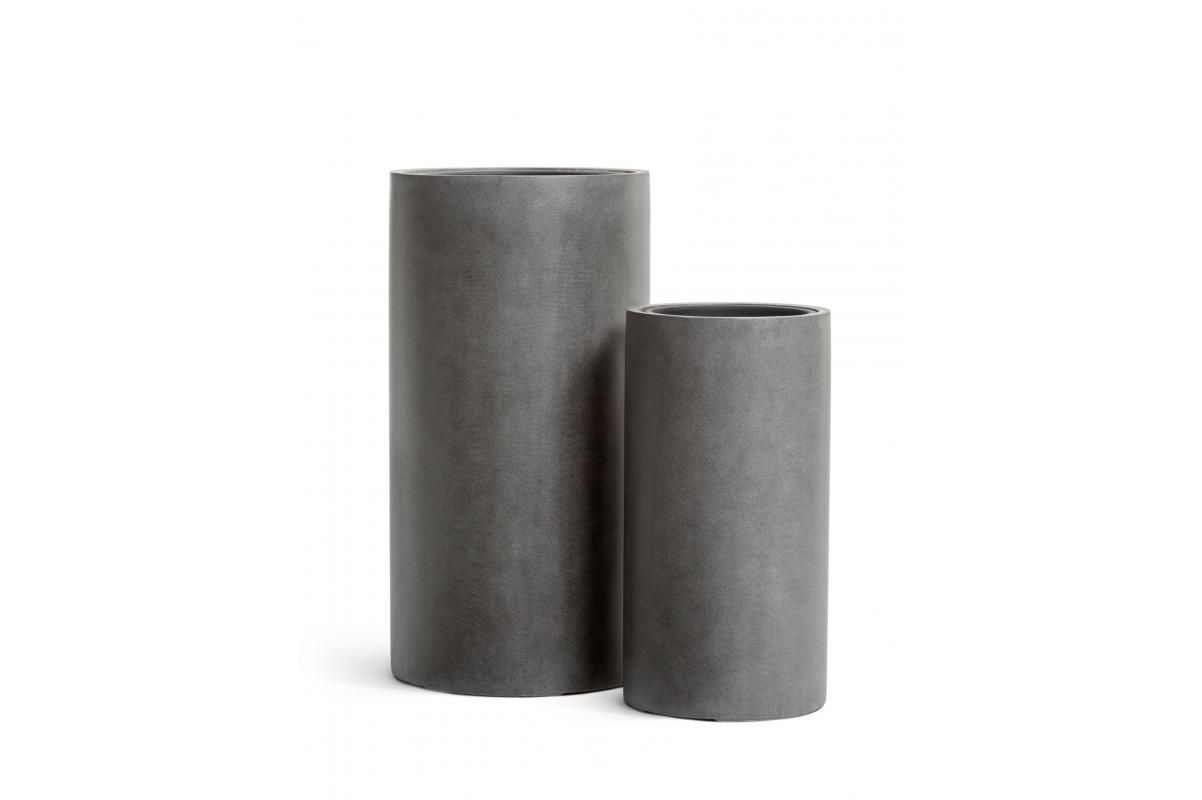 Кашпо TREEZ Effectory серия Beton высокий цилиндр темно серый бетон от 60 до 80 см