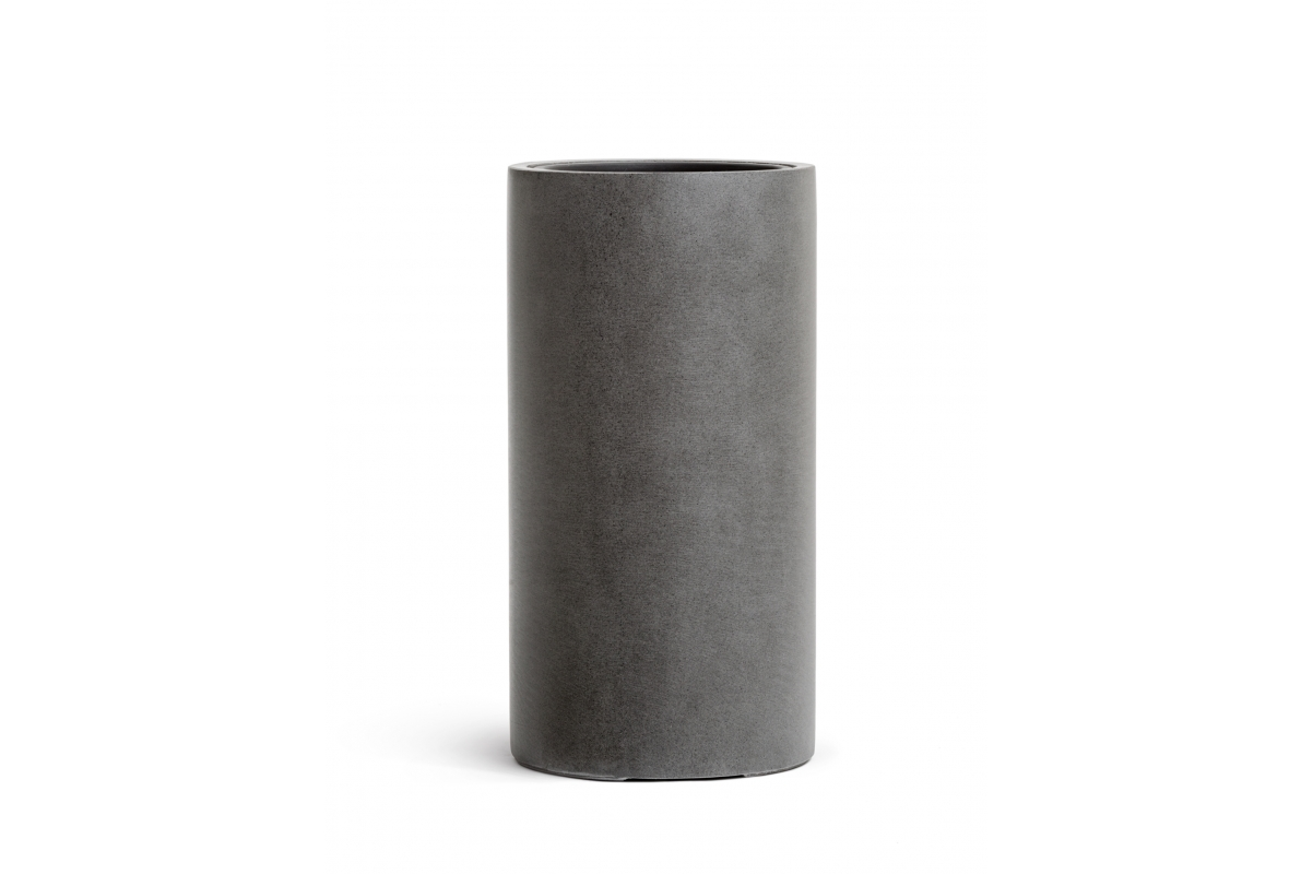 Кашпо TREEZ Effectory серия Beton высокий цилиндр темно серый бетон от 60 до 80 см - Фото 2