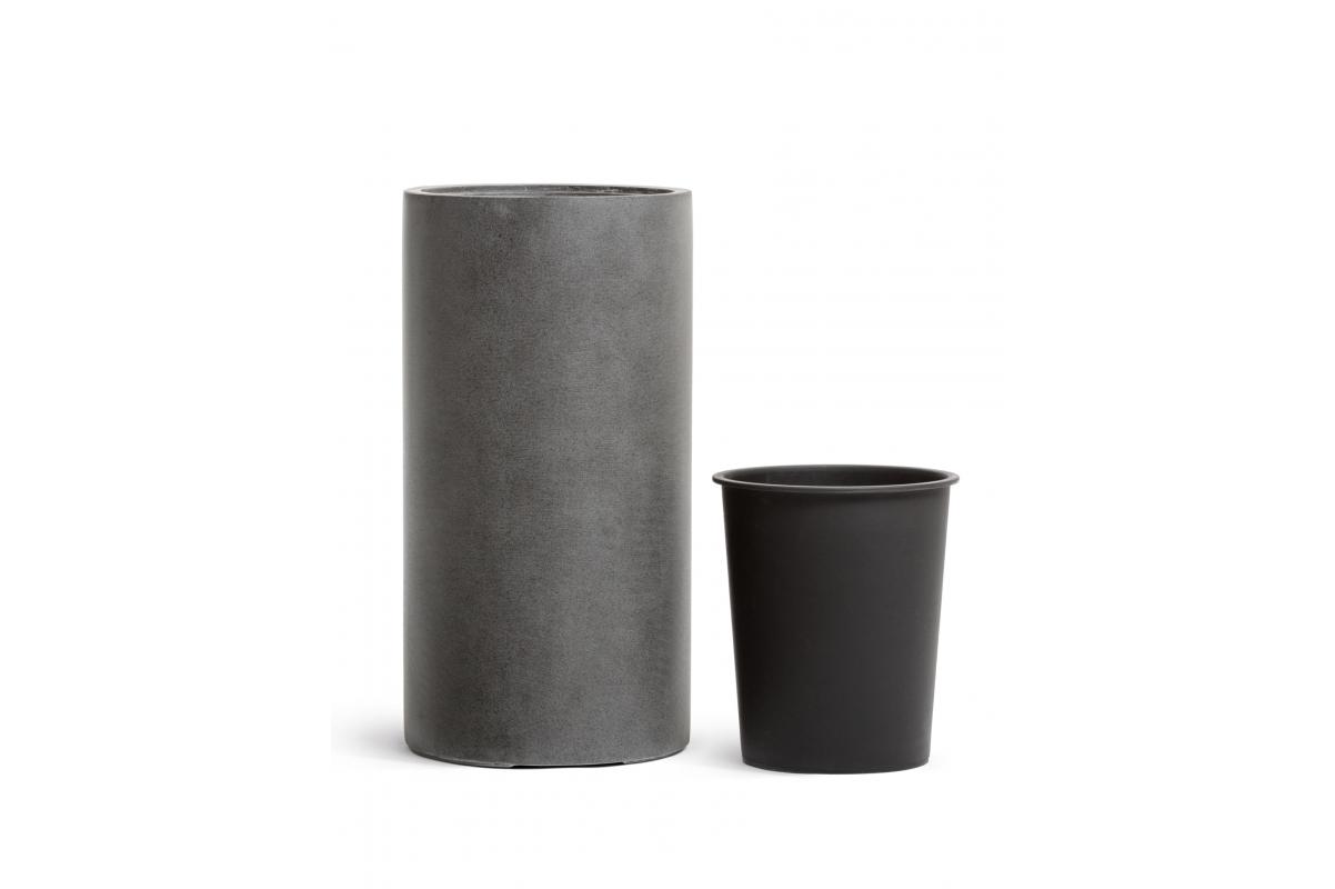 Кашпо TREEZ Effectory серия Beton высокий цилиндр темно серый бетон от 60 до 80 см - Фото 3