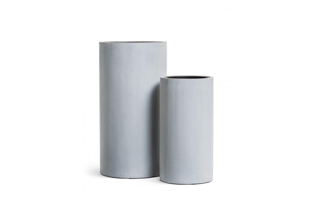 Кашпо TREEZ Effectory Beton высокий цилиндр серый ледник от 60 до 80 см