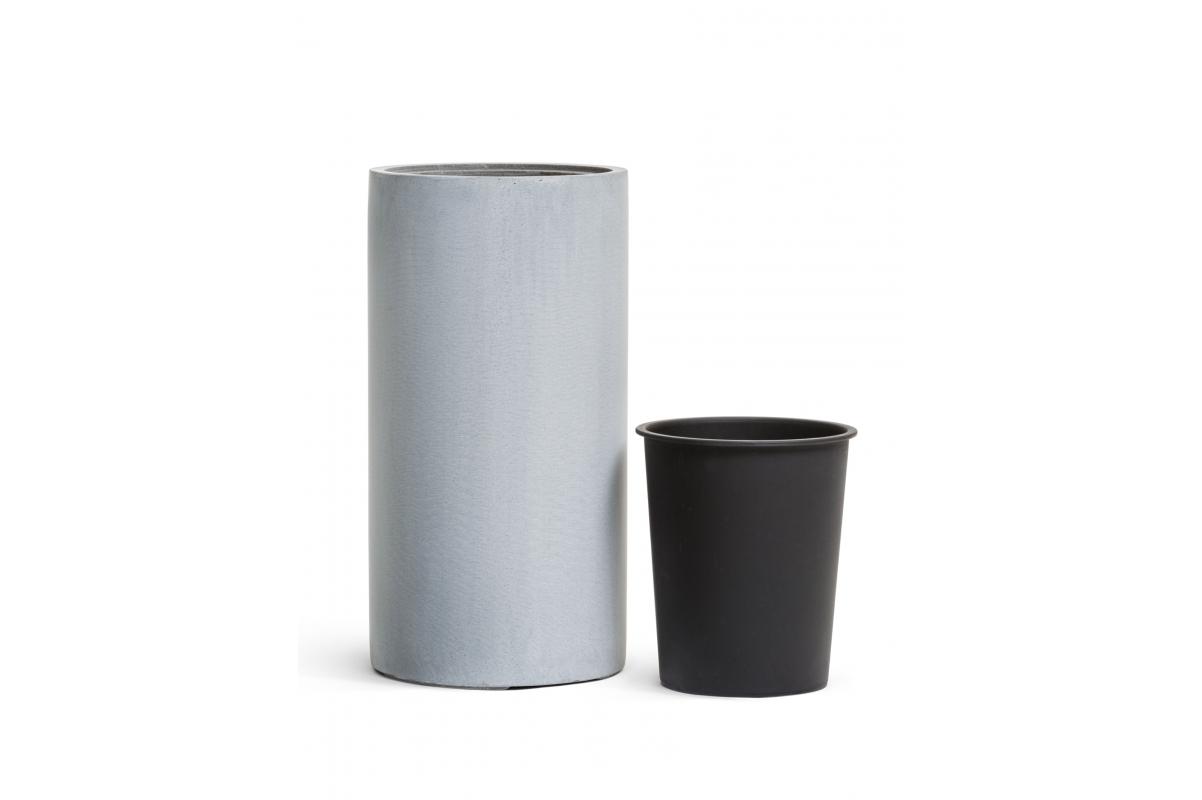 Кашпо TREEZ Effectory Beton высокий цилиндр серый ледник от 60 до 80 см - Фото 3