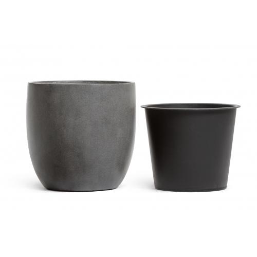 Кашпо TREEZ Effectory серия Beton округлый конус темно-серый бетон от 28 до 48 см - Фото 3