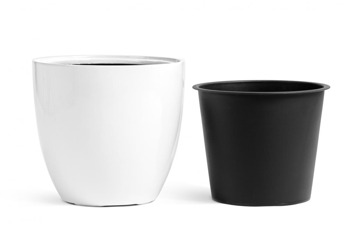 Кашпо TREEZ Effectory Gloss округлый конус белый глянцевый лак от 30 до 50 см - Фото 2