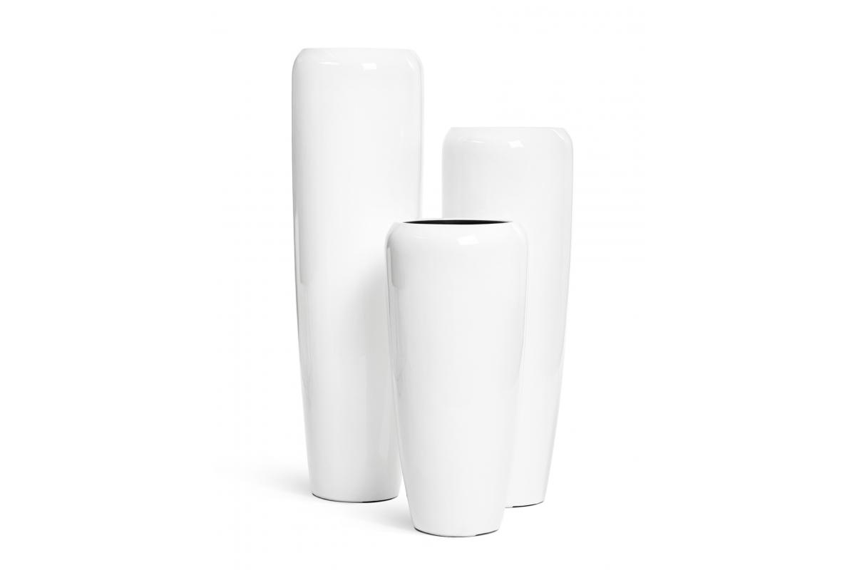 Кашпо TREEZ Effectory Gloss высокий конус Design белый глянцевый лак от 75 до 117 см - Фото 9