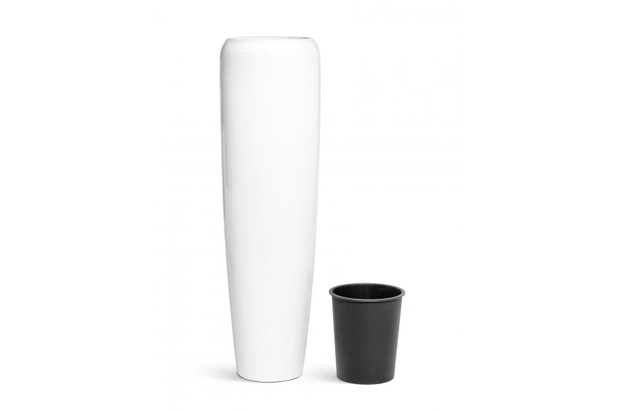 Кашпо TREEZ Effectory Gloss высокий конус Design белый глянцевый лак от 75 до 117 см - Фото 8