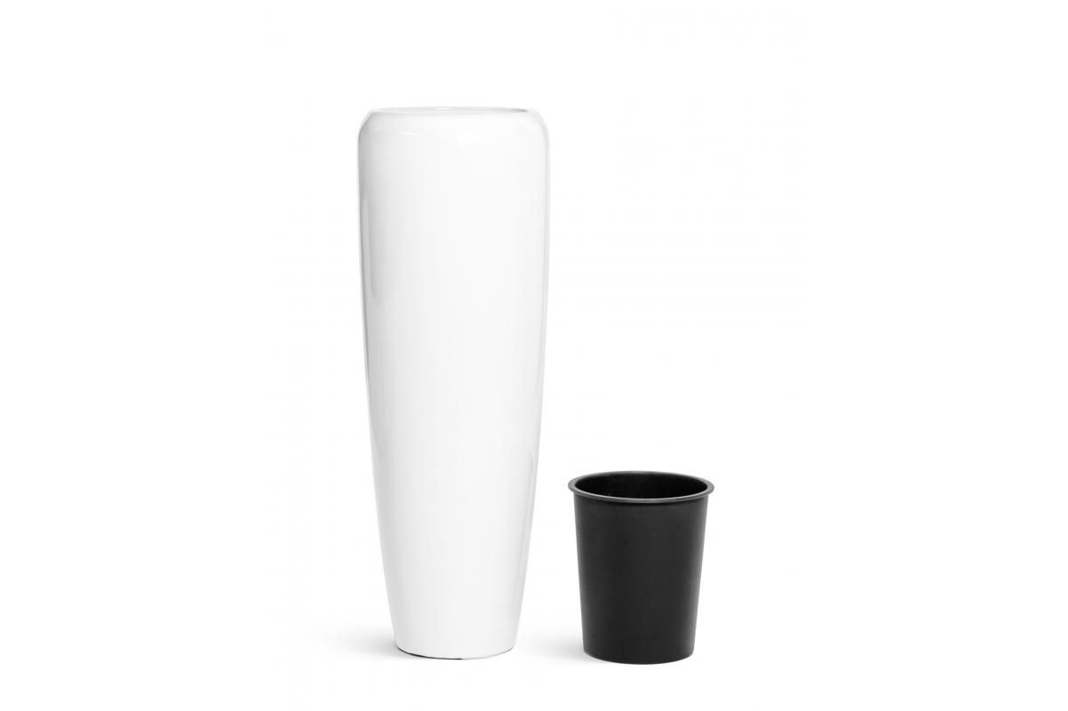 Кашпо TREEZ Effectory Gloss высокий конус Design белый глянцевый лак от 75 до 117 см - Фото 2