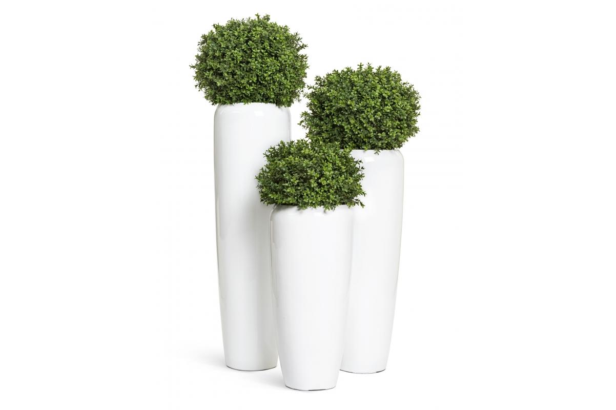 Кашпо TREEZ Effectory Gloss высокий конус Design белый глянцевый лак от 75 до 117 см - Фото 3