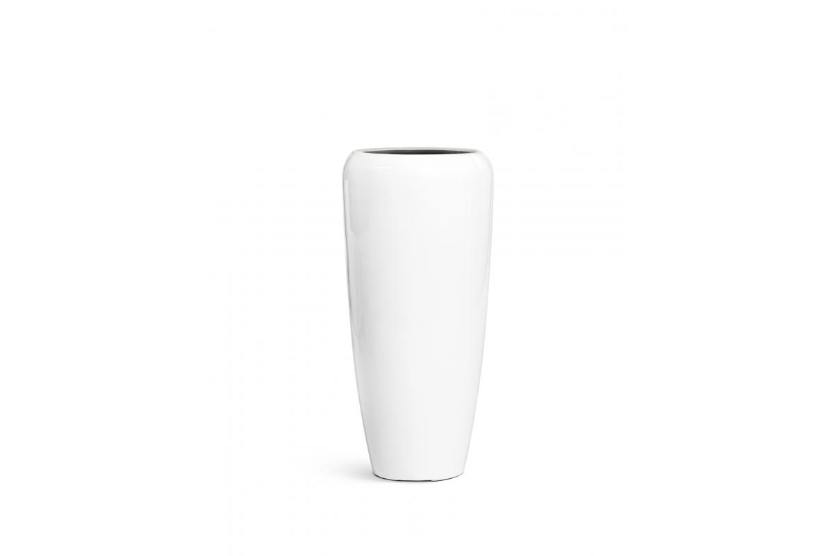 Кашпо TREEZ Effectory Gloss высокий конус Design белый глянцевый лак от 75 до 117 см - Фото 5