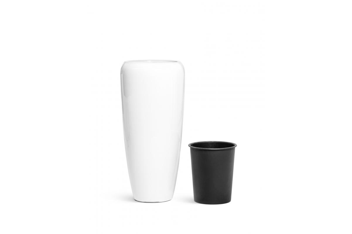 Кашпо TREEZ Effectory Gloss высокий конус Design белый глянцевый лак от 75 до 117 см - Фото 6