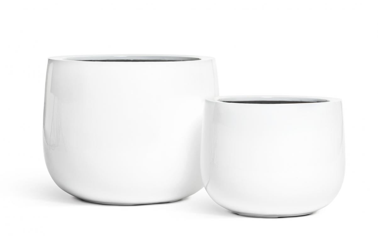 Кашпо TREEZ Effectory Gloss низкая широкая чаша белый глянцевый лак от 30 до 40 см - Фото 3
