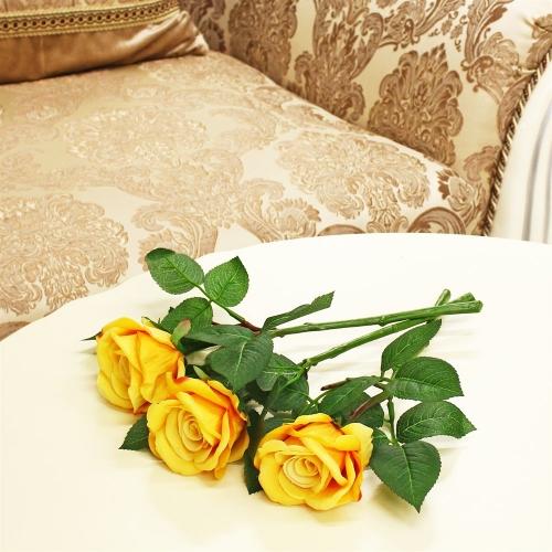 Роза искусственная желтая 30 см - Фото 2