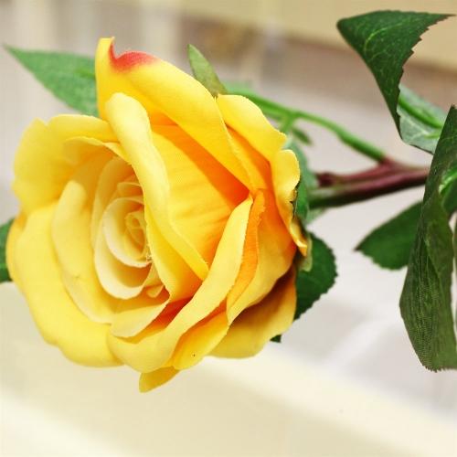 Роза искусственная желтая 30 см - Фото 3