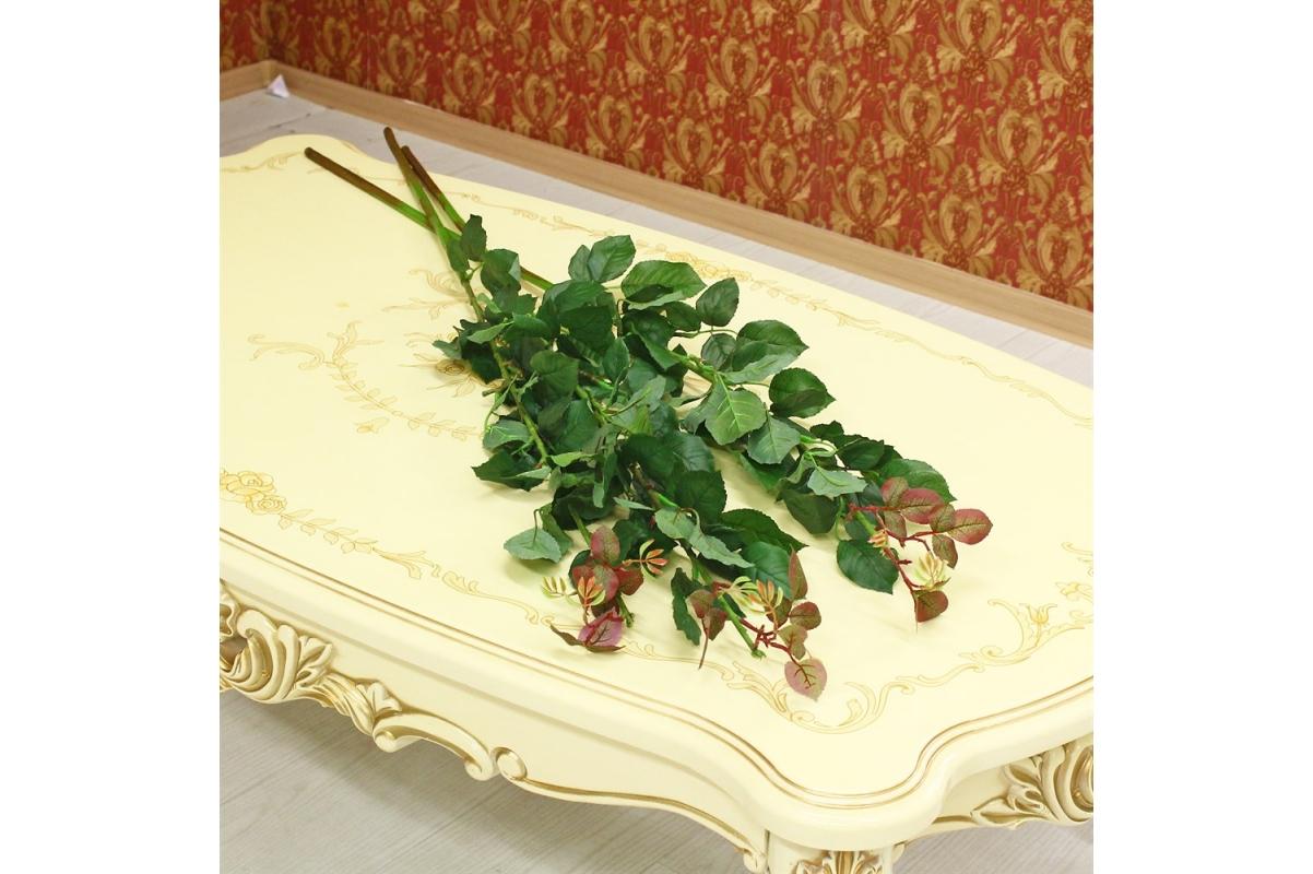 Ветвь Розы искусственная зеленая 120 см - Фото 2