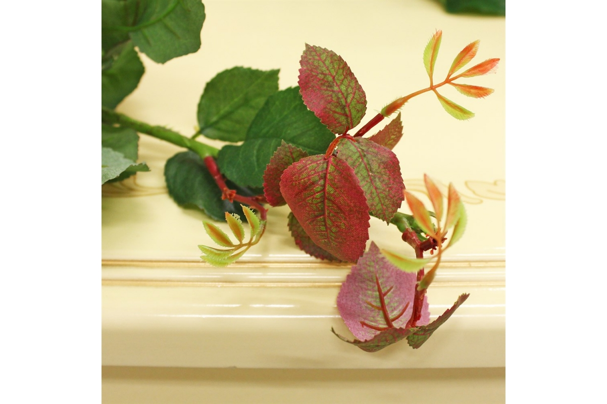Ветвь Розы искусственная зеленая 120 см - Фото 3