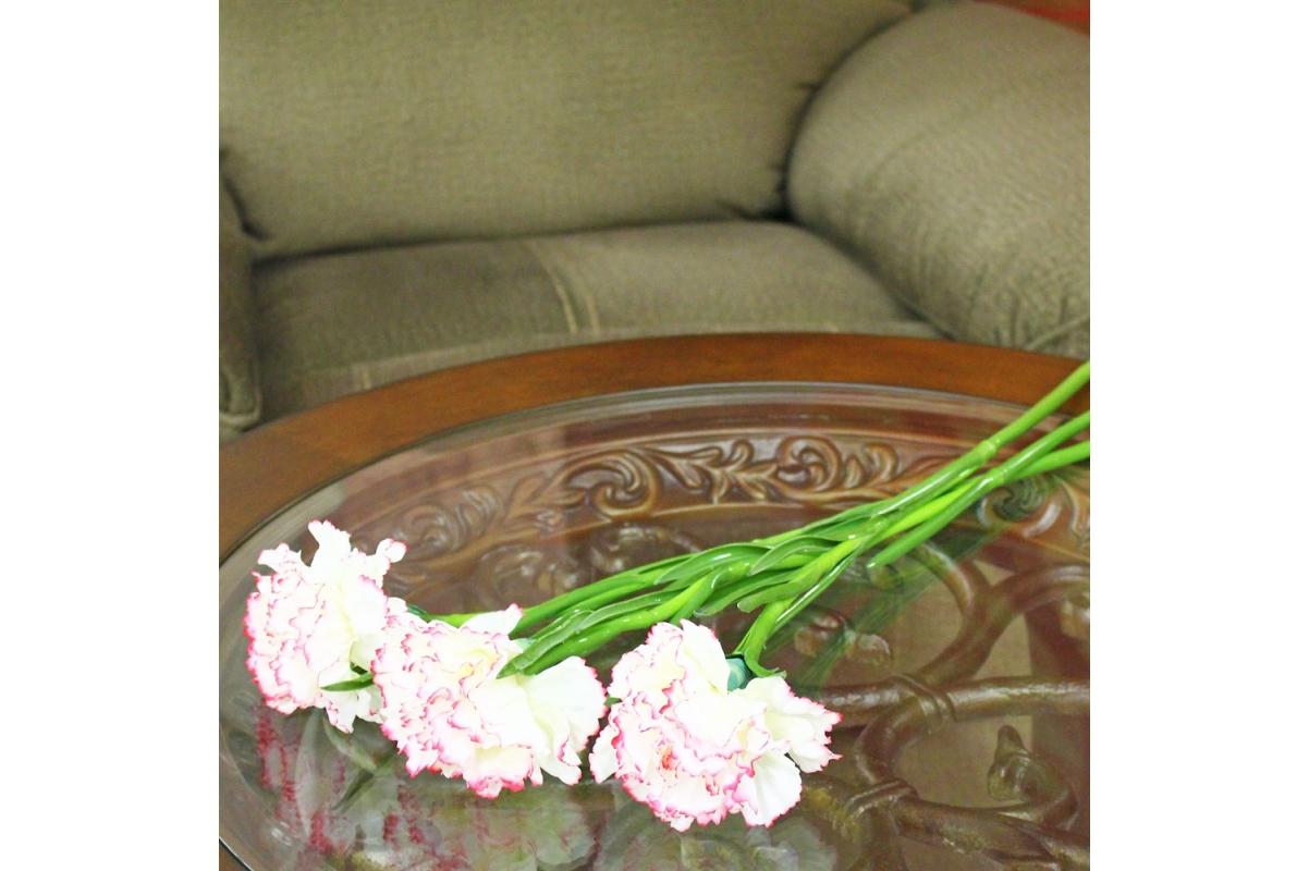 Гвоздика искусственная бело-розовая 60 см - Фото 2