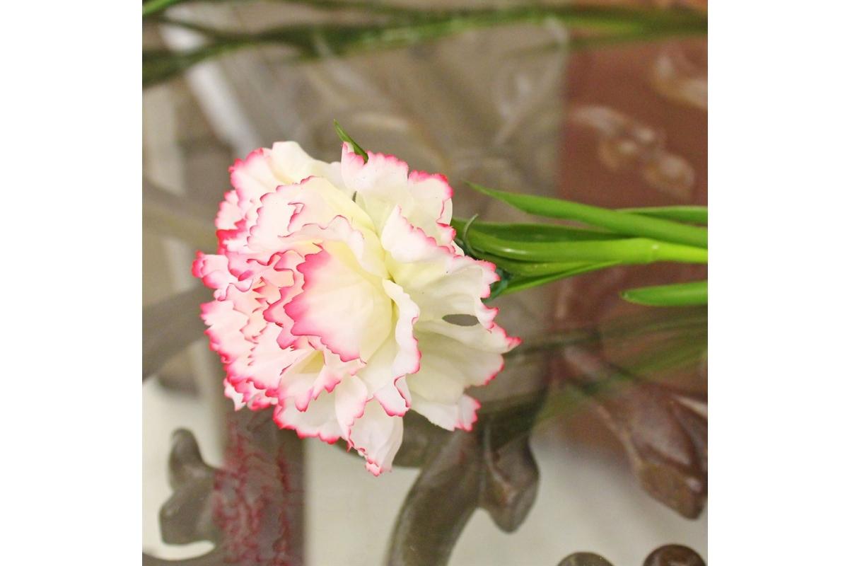 Гвоздика искусственная бело-розовая 60 см - Фото 3