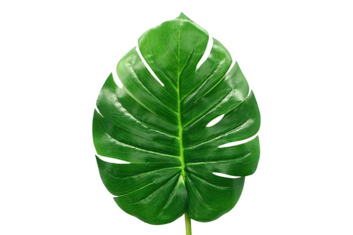 Лист Монстеры искусственный зеленый 90 см - Фото 3