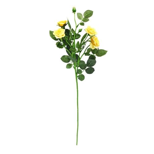 Роза ветвь искусственная желтая 73 см