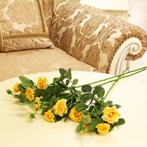 Роза ветвь искусственная желтая 73 см - Фото 2