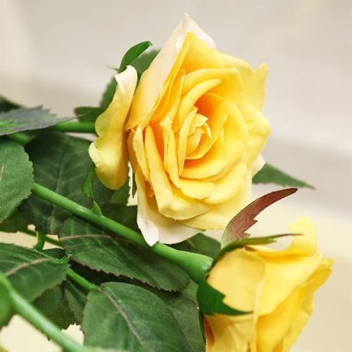 Роза ветвь искусственная желтая 73 см - Фото 3
