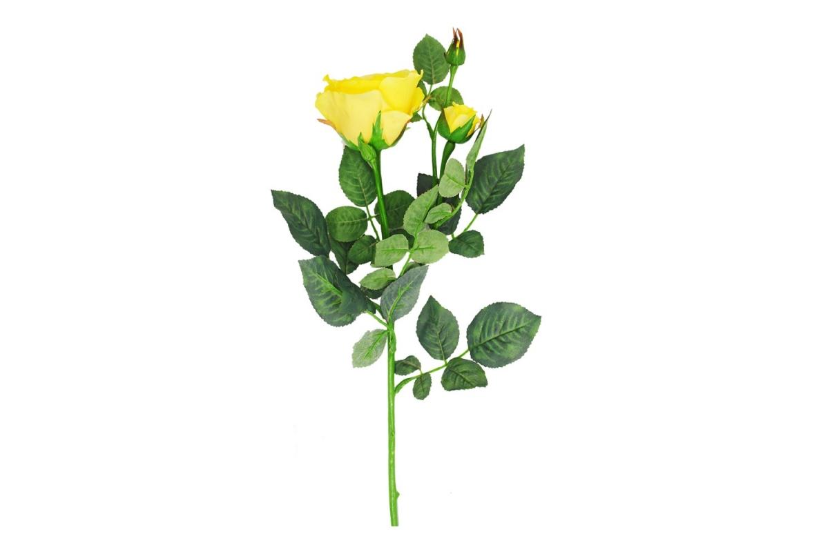 Роза Регина искусственная желтая 63 см