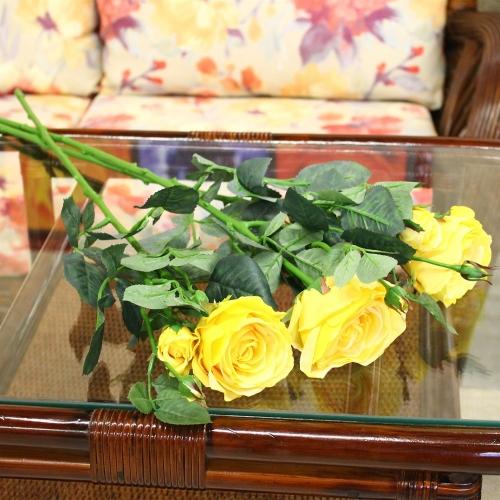 Роза Регина искусственная желтая 63 см - Фото 2