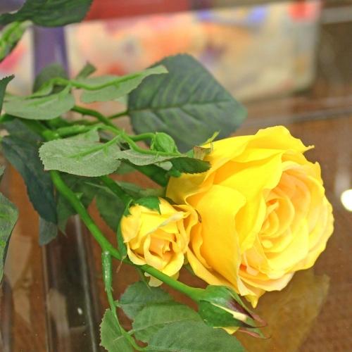 Роза Регина искусственная желтая 63 см - Фото 3