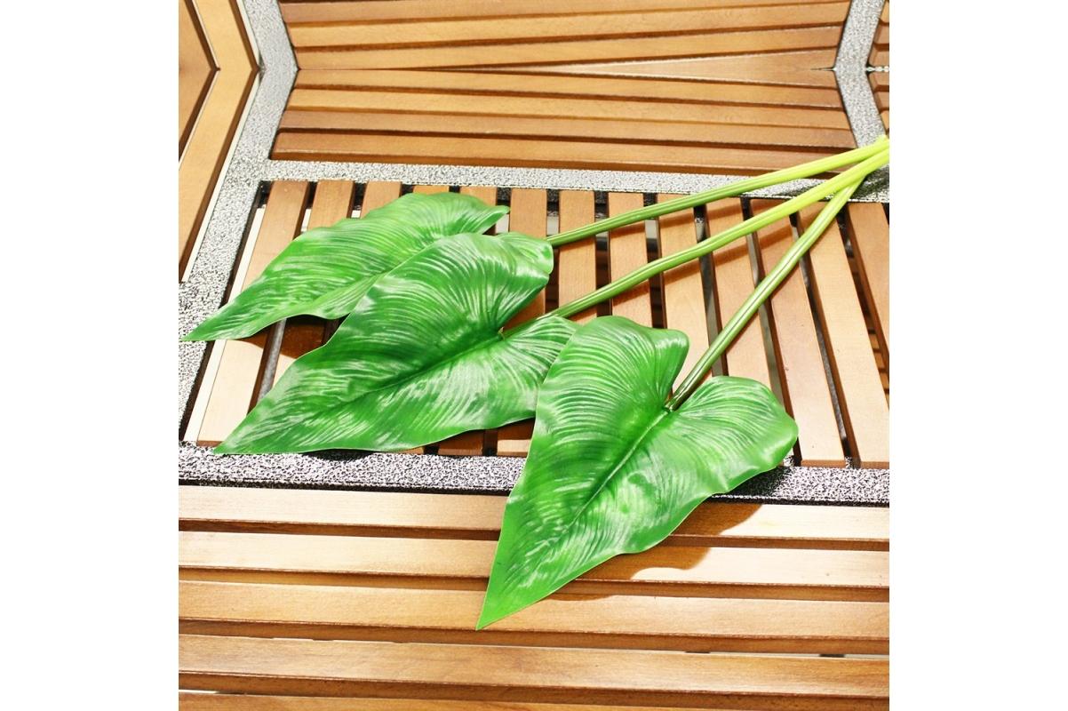 Антуриум лист искусственный зеленый 63 см - Фото 2