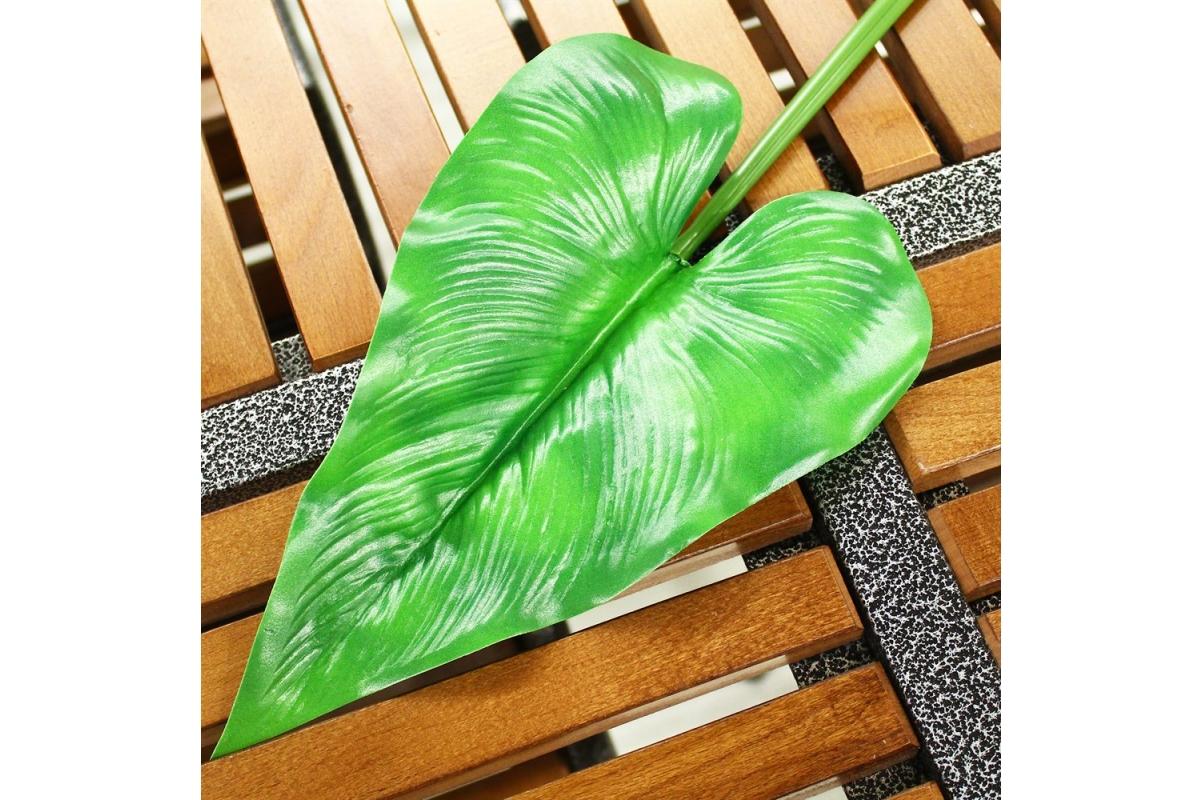Антуриум лист искусственный зеленый 63 см - Фото 3
