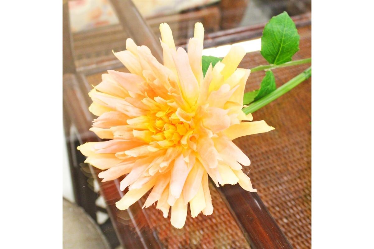 Георгин искусственный желтый 78 см - Фото 3