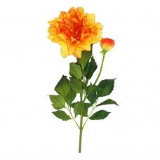 Георгин искусственный оранжево-желтый 88 см
